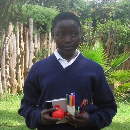 Getrude in 2011 as she began secondary school